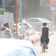 台風19号の災害支援として福島県いわき市に出発した山形県南陽市の給水車=15日、山形県南陽市(柏崎幸三撮影)