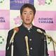 巨人から1位指名された青森山田高の堀田賢慎投手(17日、青森市で)=古林隼人撮影