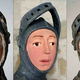 スペインの教会にある16世紀の聖ホルヘ像の修復前(左)、1度目の修復後(中央)、再修復後(右)の写真。ナバラ州提供(2019年6月24日作成)。(c)AFP=時事/AFPBB News