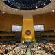 国連総会が開かれる議場。今年は各国首脳の演説は事前収録のビデオ形式で行われる/Getty Images