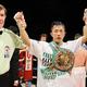 WBC世界スーパーフェザー級王座を獲得し、2階級制覇を達成した粟生隆寛=2010年11月26日、日本ガイシホール