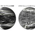 (左)あかつきIR2カメラで観測された金星下層雲。明るい部分が