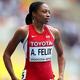 女子200m・予選にて。  写真は、米国のアリソン・フェリックス。  (撮影:フォート・キシモト)  [2013年8月15日、ルジニキ・スタジアム/モスクワ/ロシア]