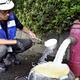 消火栓を開け、さびで濁った水道管内の水を抜く職員(19日、千葉県君津市で)=小杉千尋撮影