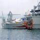 貨物船と衝突し、右舷後方が損傷した掃海艇「のとじま」(尾道海上保安部提供)