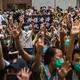 2020年7月1日、香港市民は香港国家安全維持法の成立の抗議デモを行った(DALE DE LA REY/AFP)