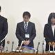 東須磨小学校での、教諭間のいじめ問題を受けた記者会見(2019年10月、時事)