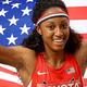 女子100mハードル・決勝にて。  米国の女子大生チャンピオンのロリンズが、12.44のタイムで優勝した。  (撮影:フォート・キシモト)  [2013年8月17日、ルジニキ・スタジアム/モスクワ/ロシア]
