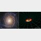 渦巻銀河NGC3147のブラックホールに存在する降着円盤の想像図 (c) NASA, ESA, S. Bianchi (Università degli Studi Roma Tre University), A. Laor (Technion-Israel Institute of Technology), and M. Chiaberge (ESA, STScI, and JHU); illustration: NASA, ESA, and A. Feild and L. Hustak (STScI)