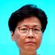 会見で厳しい表情を見せる香港の林鄭月娥(キャリー・ラム)行政長官=2019年6月18日、香港、竹花徹朗撮影
