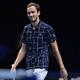 男子テニス、ATPファイナルズ7日目。勝利を喜ぶダニール・メドベージェフ(2020年11月21日撮影)。(c)Glyn KIRK / AFP