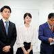 4月に関西テレビにアナウンサーとして入社する山本浩之アナの三男・大貴さん(左)と館山聖奈さん(中央。右はカンニング竹山)