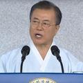 15日、光復節に際して演説を行った文在寅大統領(韓国青瓦台提供