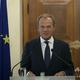 キプロス首都ニコシアで記者会見する欧州理事会のドナルド・トゥスク常任議長(2019年10月11日撮影、資料写真)。(c)Yiannis KOURTOGLOU / POOL / AFP