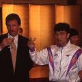 広島をステージ優勝に導いた当時のバクスター監督(左)。就任3