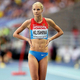 女子走幅跳・決勝にて。  写真は、7位に入ったダリャ・クリシナ(ロシア)。  抜群のルックスからモデル業もしており、世界中に多くのファンを抱えている。  (撮影:フォート・キシモト)  [2013年8月11日、ルジニキ・スタジアム/モスクワ/ロシア]