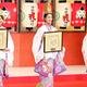 福娘の代表に選出された(左から)山本里咲さん、橋本和花子さん、谷村栞里さん