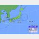 17日午前2時の台風14号の位置と進路予想。