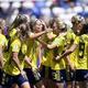 女子サッカーW杯フランス大会、グループF、スウェーデン対タイ。ゴールを喜ぶスウェーデンの選手(2019年6月16日撮影)。(c)CHRISTOPHE SIMON / AFP