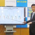 国内総生産(GDP)統計の発表を受けて記者会見する西村康稔経済