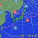 13日午前9時の予想天気図。