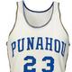 バラク・オバマ前米大統領がプナホウ・スクールの高校時代に着用していた背番号23のバスケットボールのユニホーム(2019年8月19日提供)。(c)Handout / Heritage Auctions / AFP