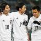 ゴールを決め称えあう(左から)南野、柴崎、久保。(C)Getty Images