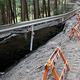 工事現場に至る県道の路肩は大きく崩壊していた
