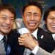 東京が、決選投票でイスタンブールに圧勝。2020年の第32回夏季オリンピック大会の開催都市に決まった。  左から、入江陵介、太田雄貴、千田健太。写真中央の太田は、喜びイッパイの涙を流した。  (撮影:フォート・キシモト)  [2013年9月7日、ブエノスアイレス/アルゼンチン]
