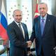 ロシアのウラジーミル・プーチン大統領(左)とトルコのレジェプ・タイップ・エルドアン大統領(2019年9月16日撮影、資料写真)。(c)Pavel Golovkin / POOL / AFP
