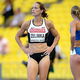 女子100mハードル・予選にて。  写真は、カナダのジェシカ・ゼリンカ。  (撮影:フォート・キシモト)  [2013年8月16日、ルジニキ・スタジアム/モスクワ/ロシア]