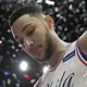 8月末に開幕するFIBAバスケットボール・ワールドカップへの出場を見送る意向を示した、米NBAのフィラデルフィア・セブンティシクサーズに所属するオーストラリア代表のベン・シモンズ(2018年4月14日撮影、資料写真)。(c)Mitchell Leff/Getty Images/AFP