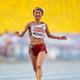 女子マラソンにて。  写真は、2時間31分28秒のタイムで、4位に入賞した木崎良子。  (撮影:フォート・キシモト)  [2013年8月10日、ルジニキ・スタジアム/モスクワ/ロシア]