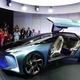 トヨタ自動車が初めて公開した、高級車ブランド「レクサス」の電気自動車の試作車「LFー30 エレクトリファイド」=23日、東京都江東区