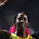 女子200m・決勝にて。  写真は、ジャマイカのシェリーアン・フレーザープライス。100mに続いて2冠を達成した。  (撮影:フォート・キシモト)  [2013年8月16日、ルジニキ・スタジアム/モスクワ/ロシア]